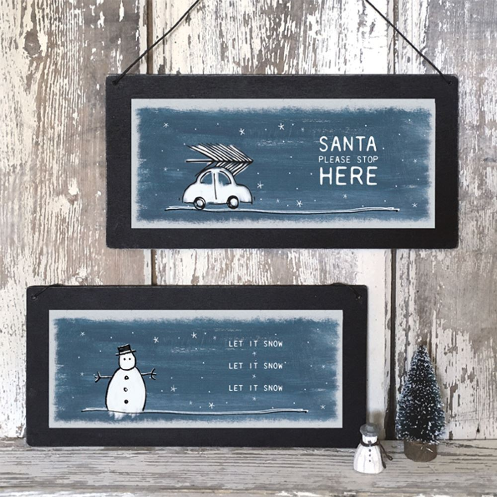 East Of India Vintage Christmas Wooden Plaque, Let it Snow Sign, Snowman Sign, Christmas Sign, Christmas Decoration, Shabby Chic