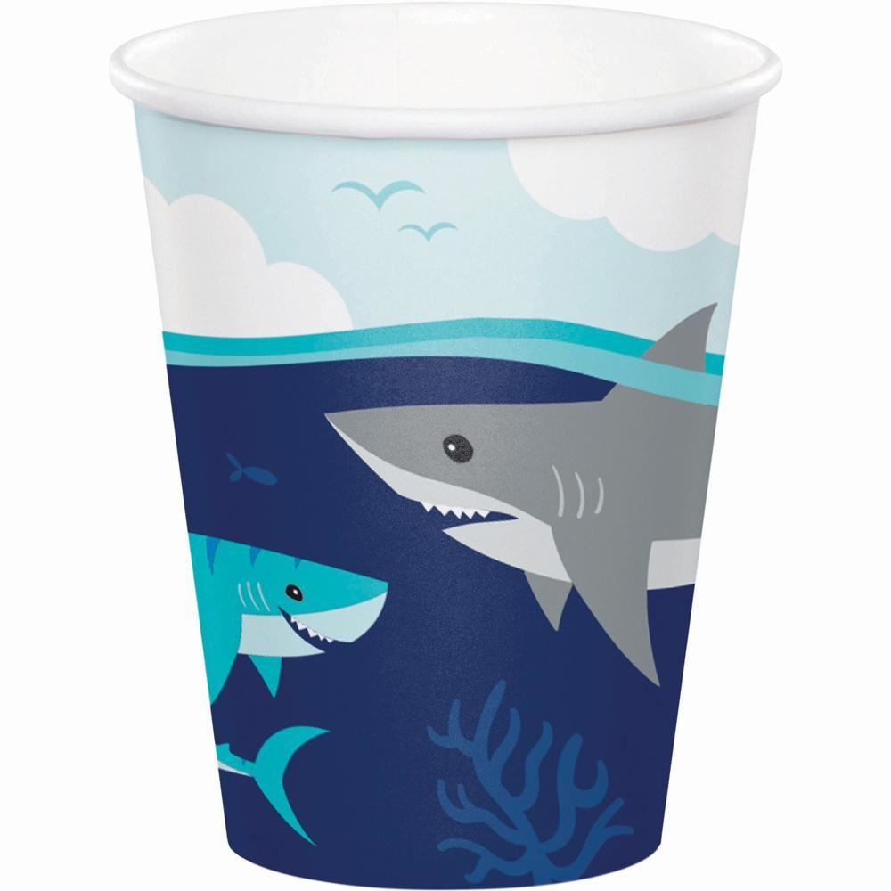 Shark Birthday Party Paper Cups x 8