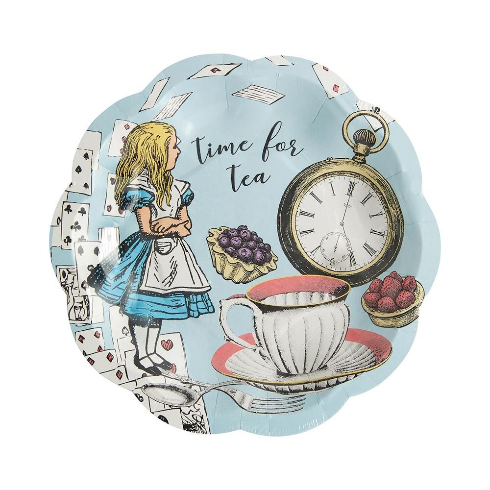 Alice In Wonderland Blue Party Pack For 12 - Napkins Cups Plates, Afternoon Tea Party Set, Birthday Wedding Party Luxury Set