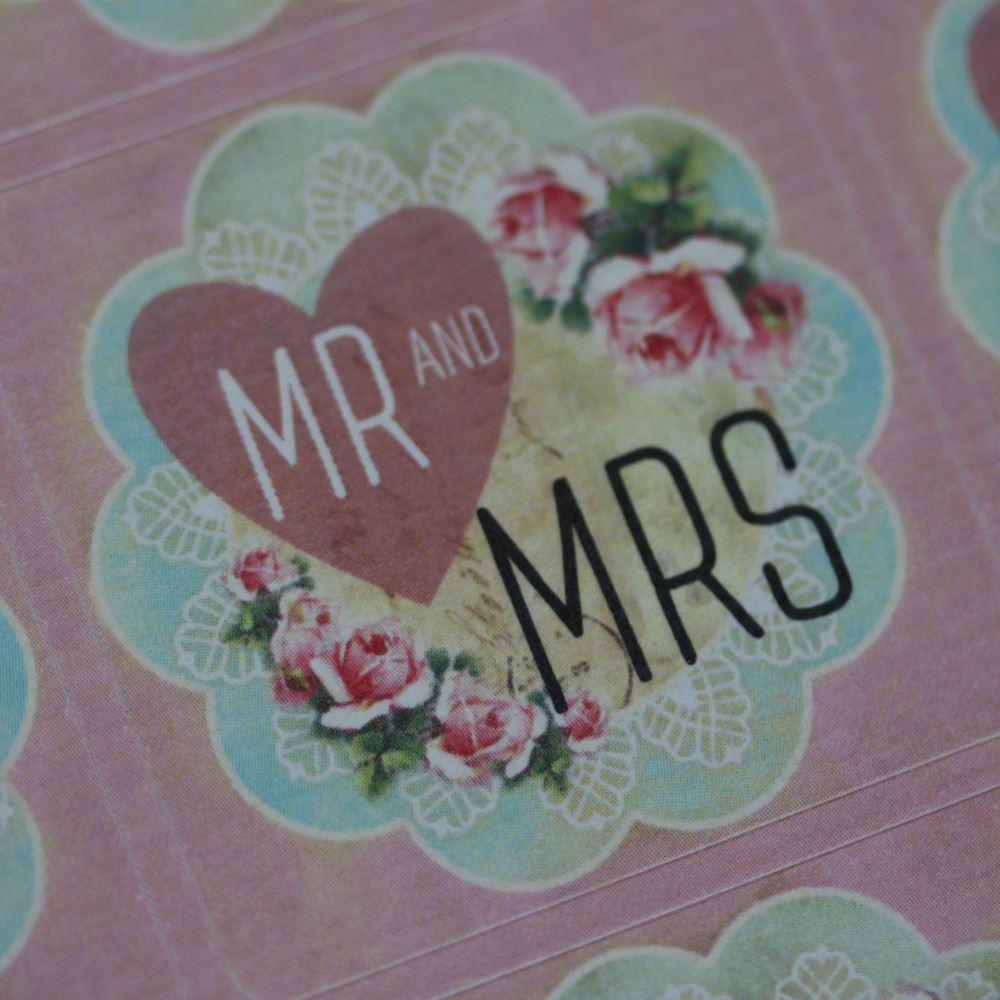 35 Mr Mrs Pink Floral Wedding Stickers, Wedding Favour Stickers, Wedding Craft Stickers, Floral Wedding Stickers, Mr Mrs Stickers