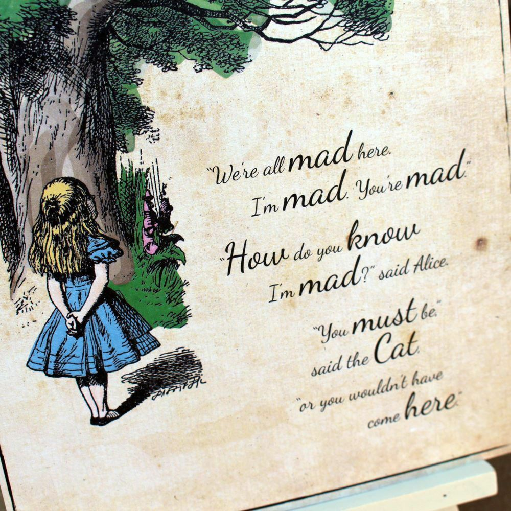 Alice In Wonderland Vintage Wedding Sign, We Are All Mad Here A5 Card And Easel, Party Sign, Wonderland Party Decorations