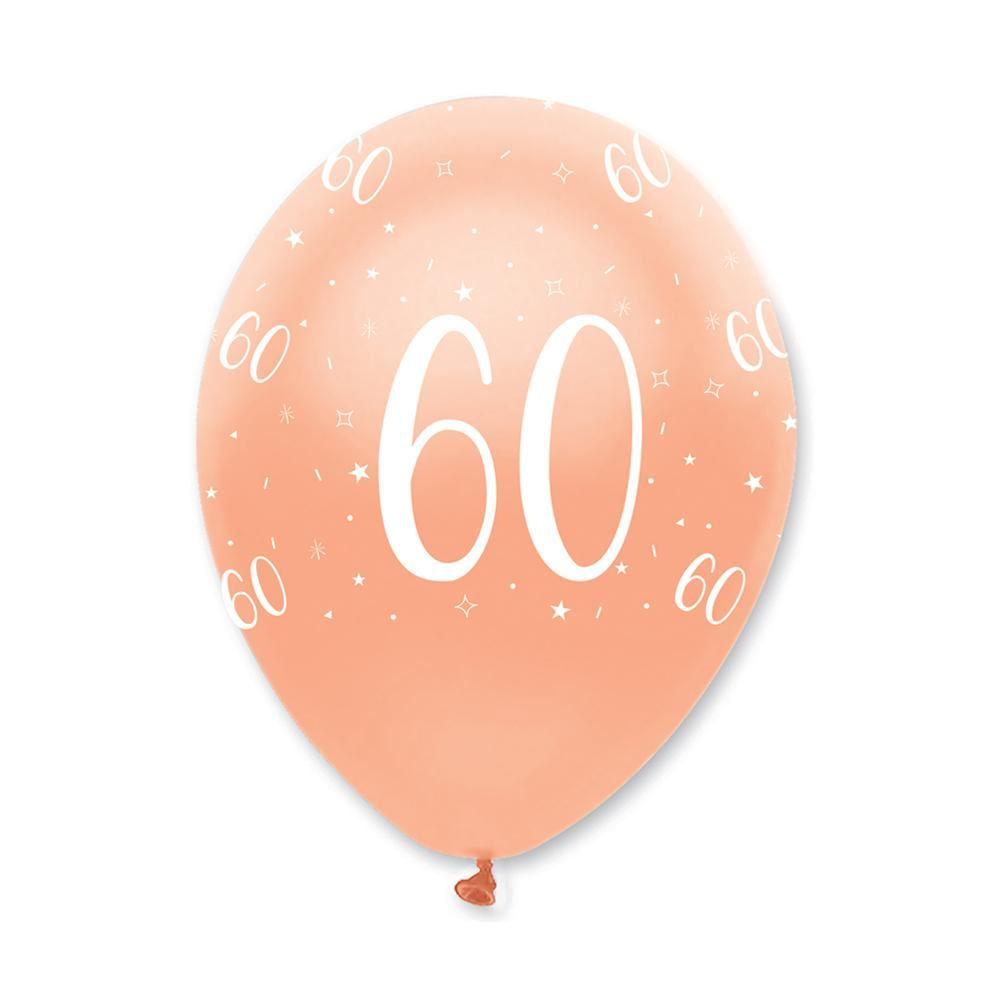 Rose Gold Age 60 Birthday Balloons x 6