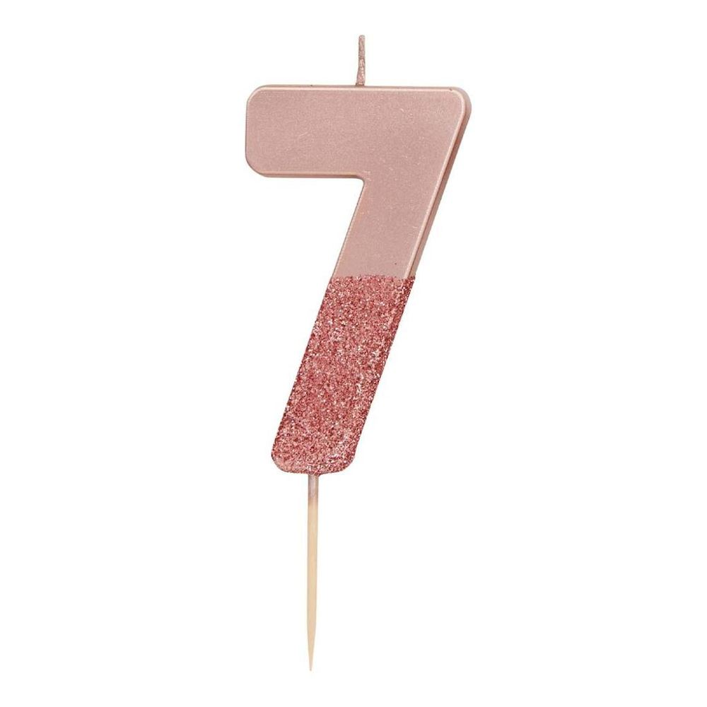 Rose Gold Glitter Candle Number 7