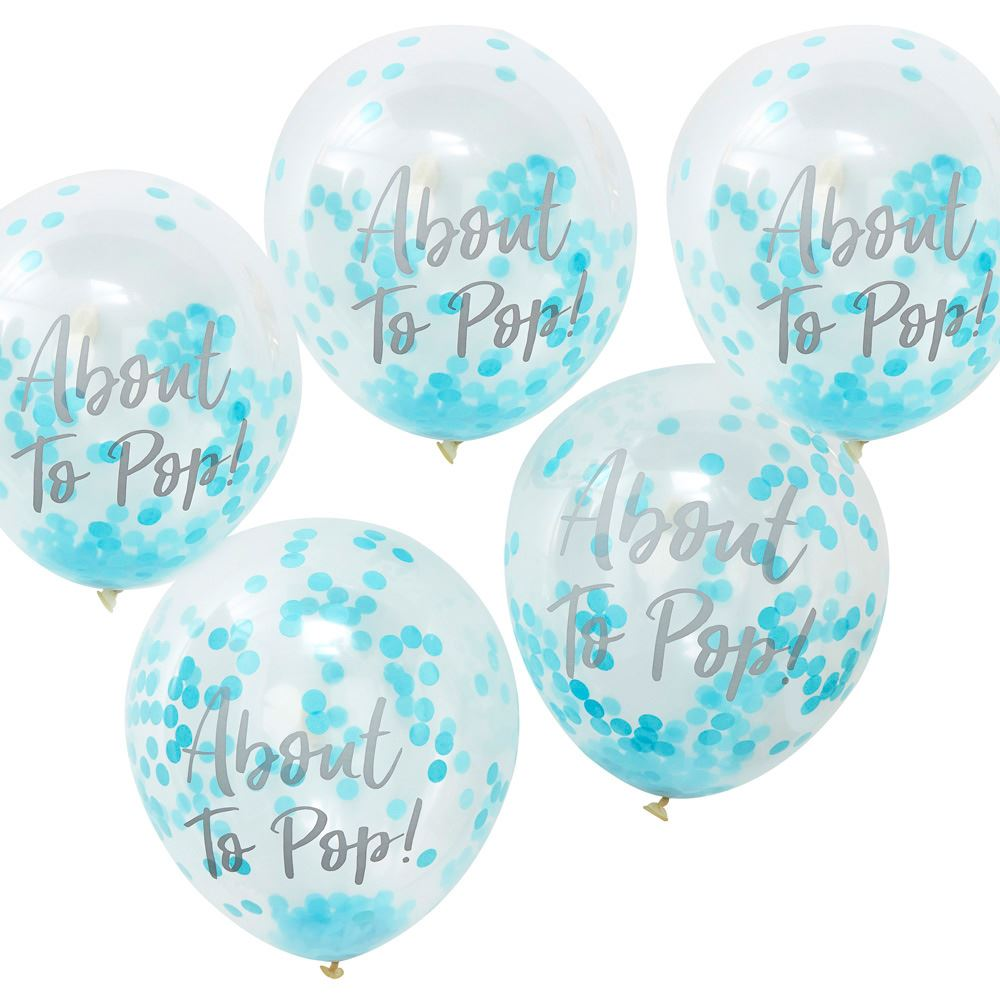5 About To Pop Blue Confetti Balloons, Oh Baby Shower Party Decorations, Boy Baby Shower, Gender Reveal Balloons, Party Balloons