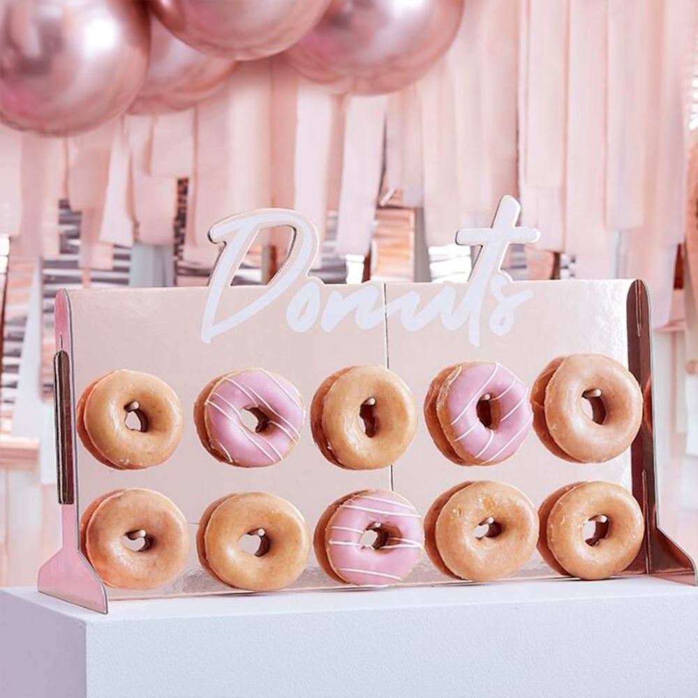 Rose Gold Cardboard Donut Wall Decoration