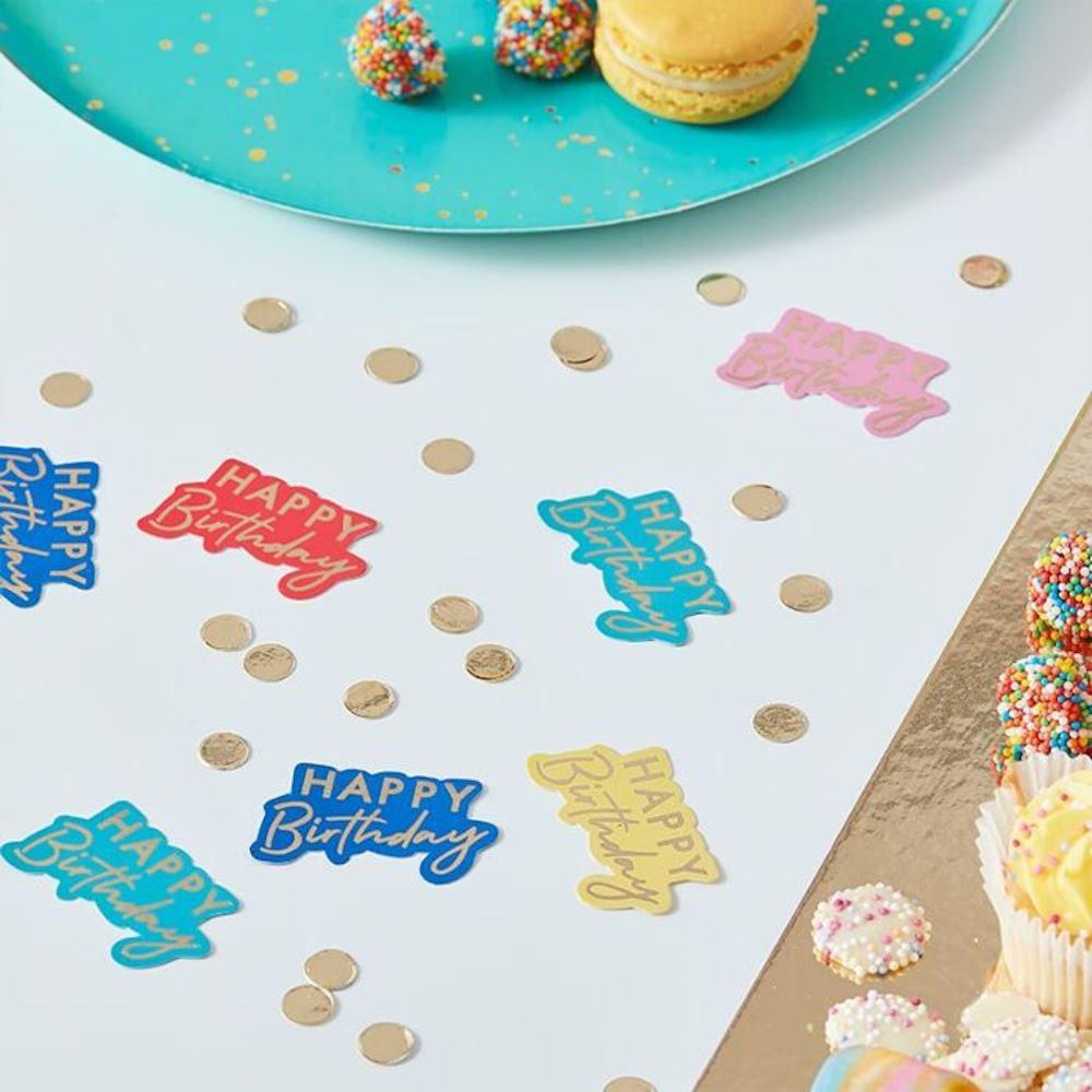 Table Confetti - Happy Birthday Multicoloured - Gold Foiled