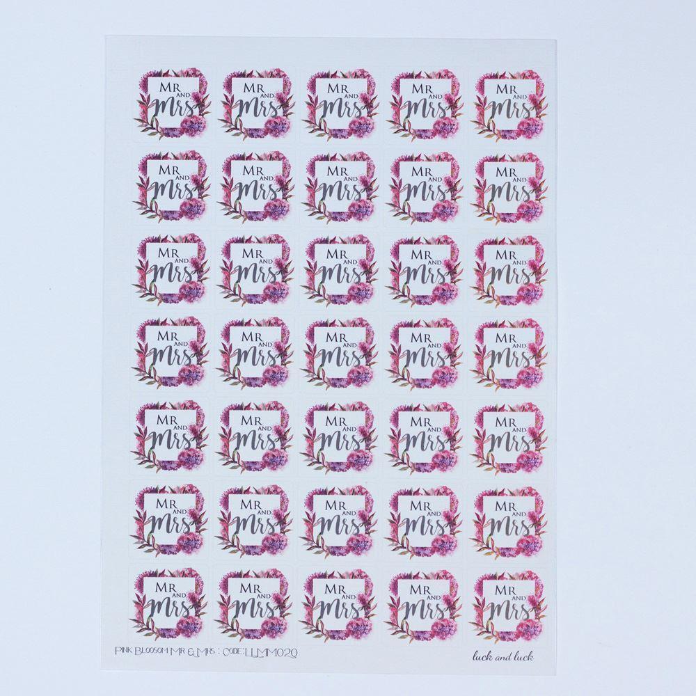 35 Mr Mrs Pink Stickers, Wedding Favour Stickers, Floral Wedding, Wedding Scrapbook Stickers, Pink Craft Stickers, Mr Mrs Wedding Decoration