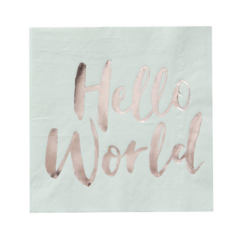 20 Hello World Baby Shower Napkins, Mint & Rose Gold Foil Napkin, Gender Neutral Baby Shower, New Baby Party, Christening Napkins