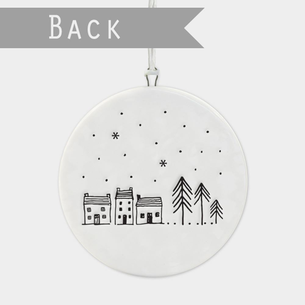 East-of-India-Flat-Christmas-Bauble-hanging-decoration-porcelain-gifts thumbnail 17
