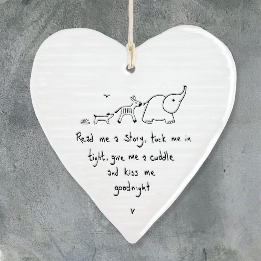 Lockdown Gift Porcelain Hanging Heart, Read Me A Story.. Christening Gift, Porcelain Gift, Hanging Decoration, Baby Shower, Porcelain Heart