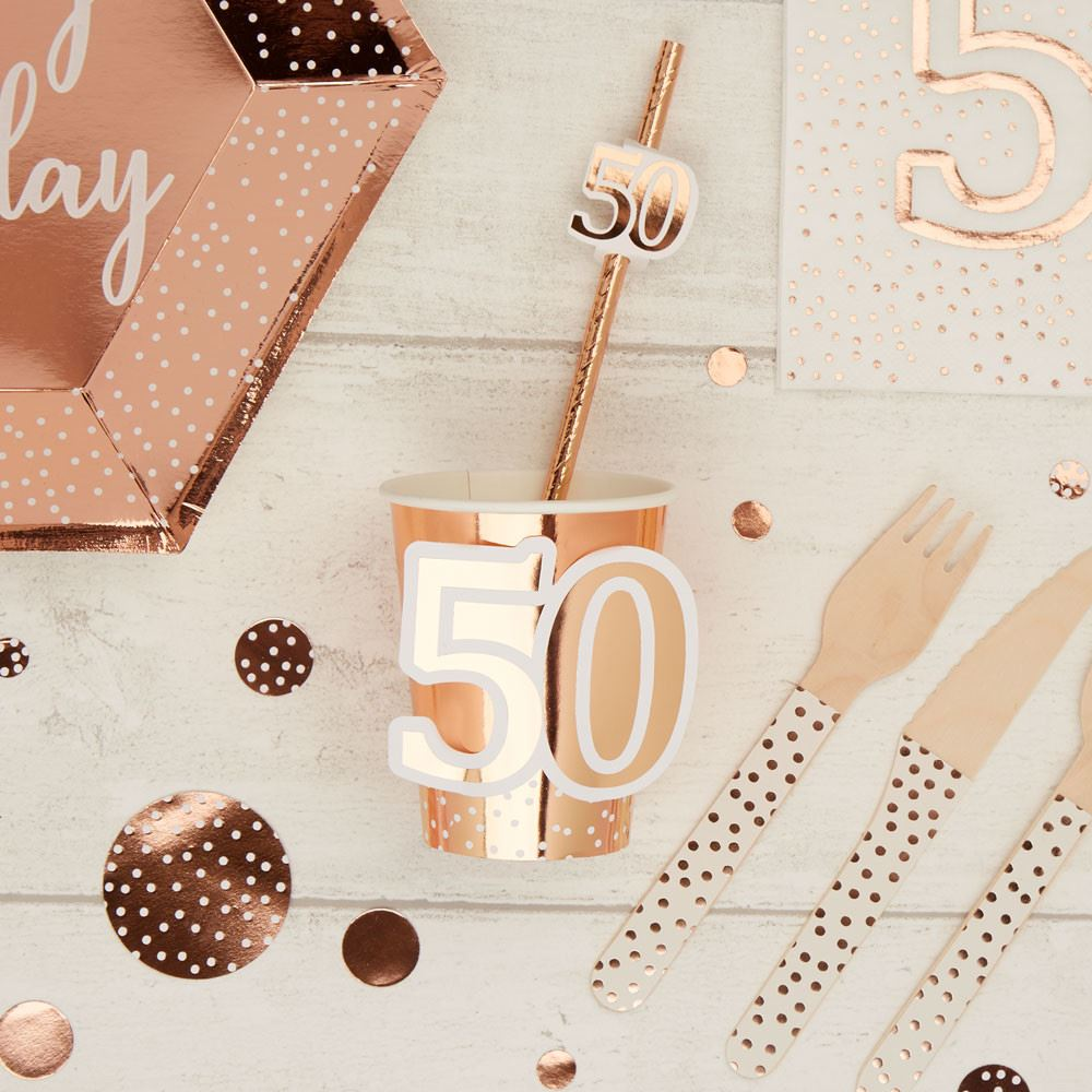 Rose Gold 50th Birthday Party Paper Cups x 8