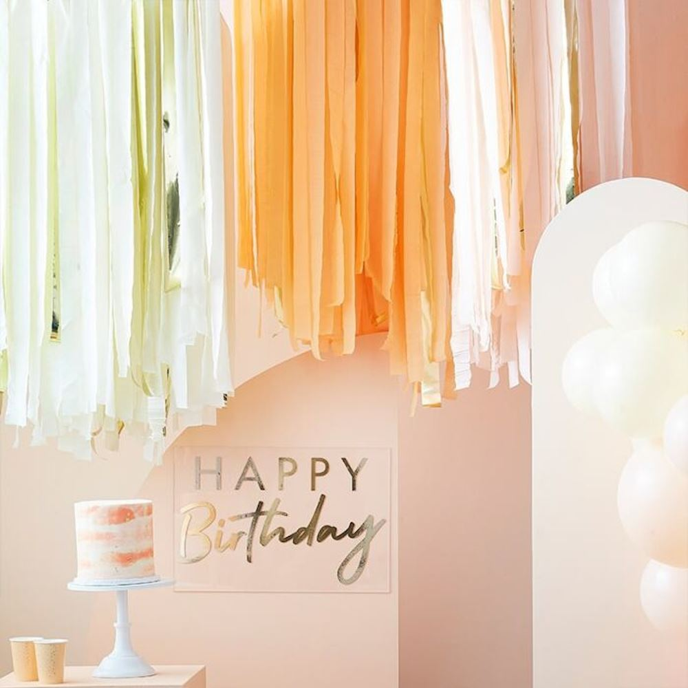 Streamer Ceiling Kit - Peach and Gold Streamer 320m Party Decoration