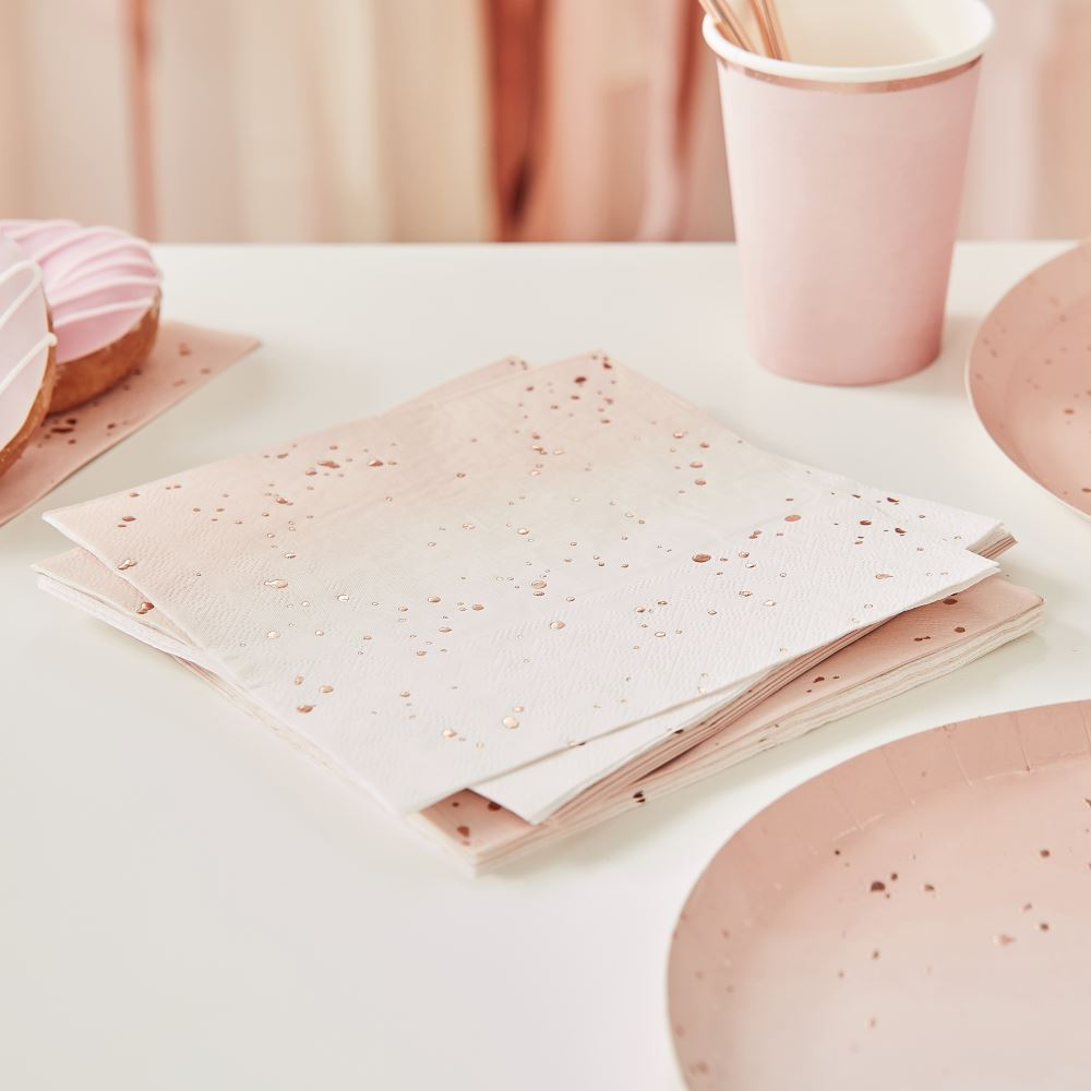 Rose Gold Foiled Pink Ombre Paper Party Napkins x 16