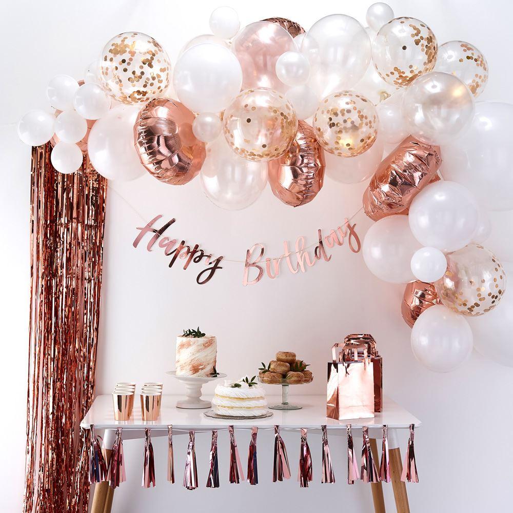 Rose Gold & White Balloon Arch Kit - Party Wedding Decoration