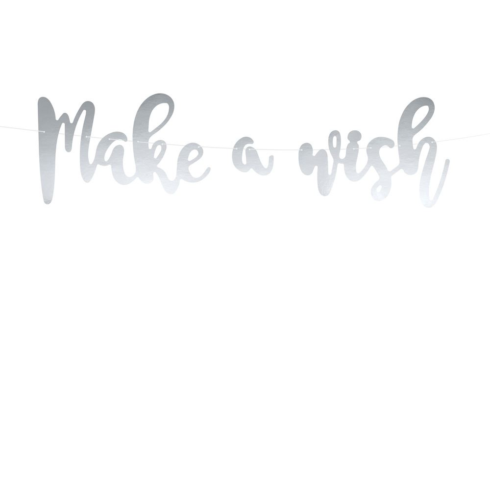 Silver Make a wish Unicorn Party Birthday Banner Decoration 2m long
