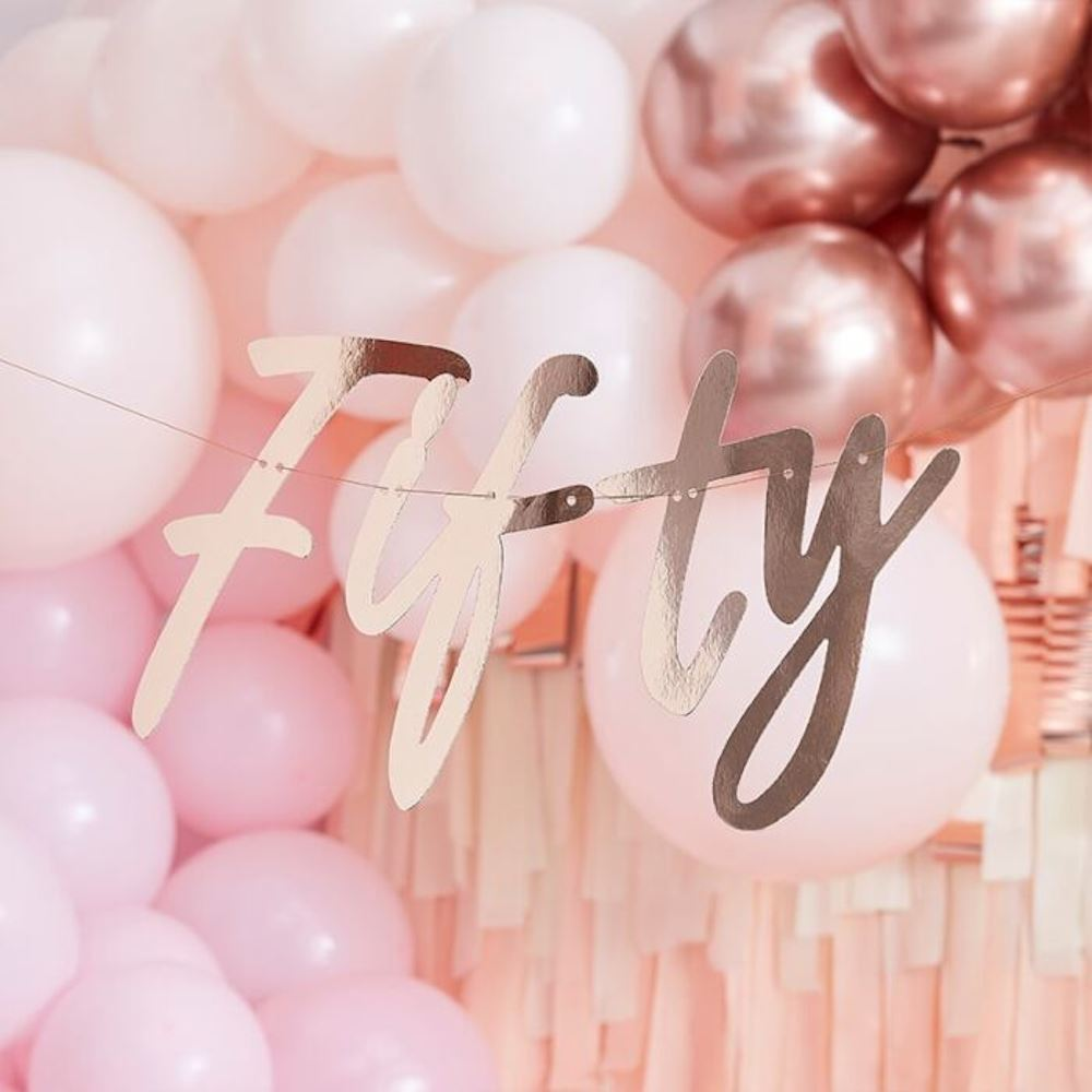 Rose Gold Fifty Hanging Bunting 50th Birthday