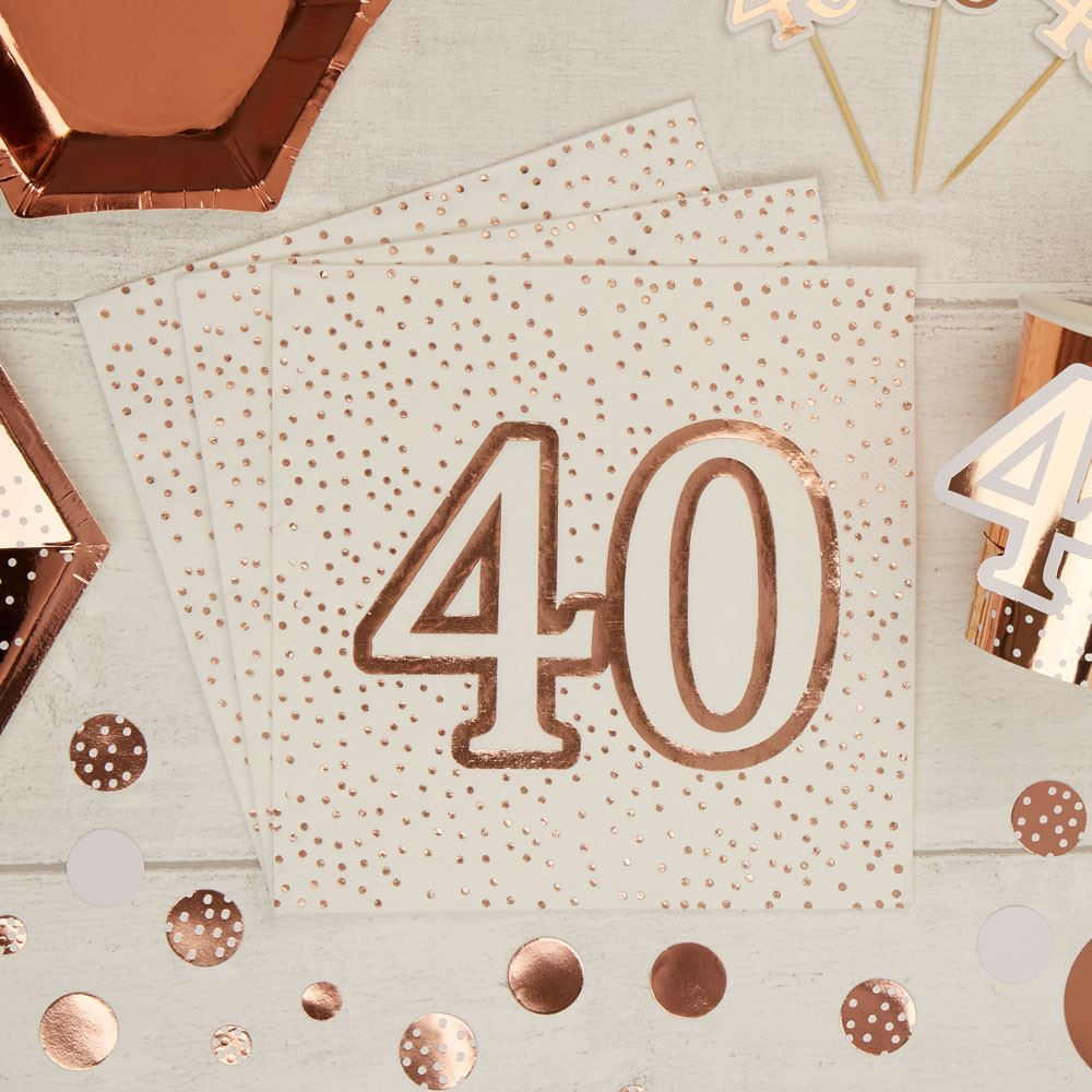 Rose Gold Spotty 40th Birthday Paper Party Napkins x 16 - 3ply