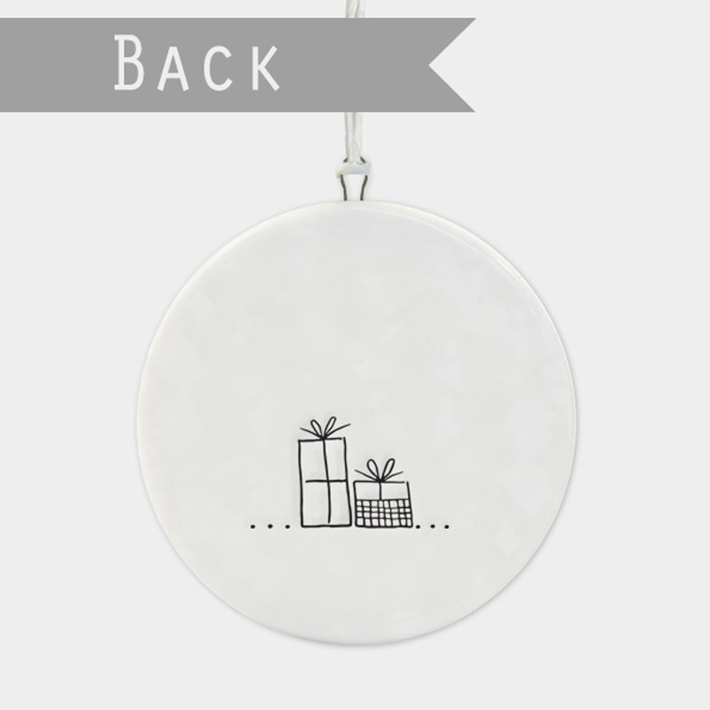 East-of-India-Flat-Christmas-Bauble-hanging-decoration-porcelain-gifts thumbnail 13