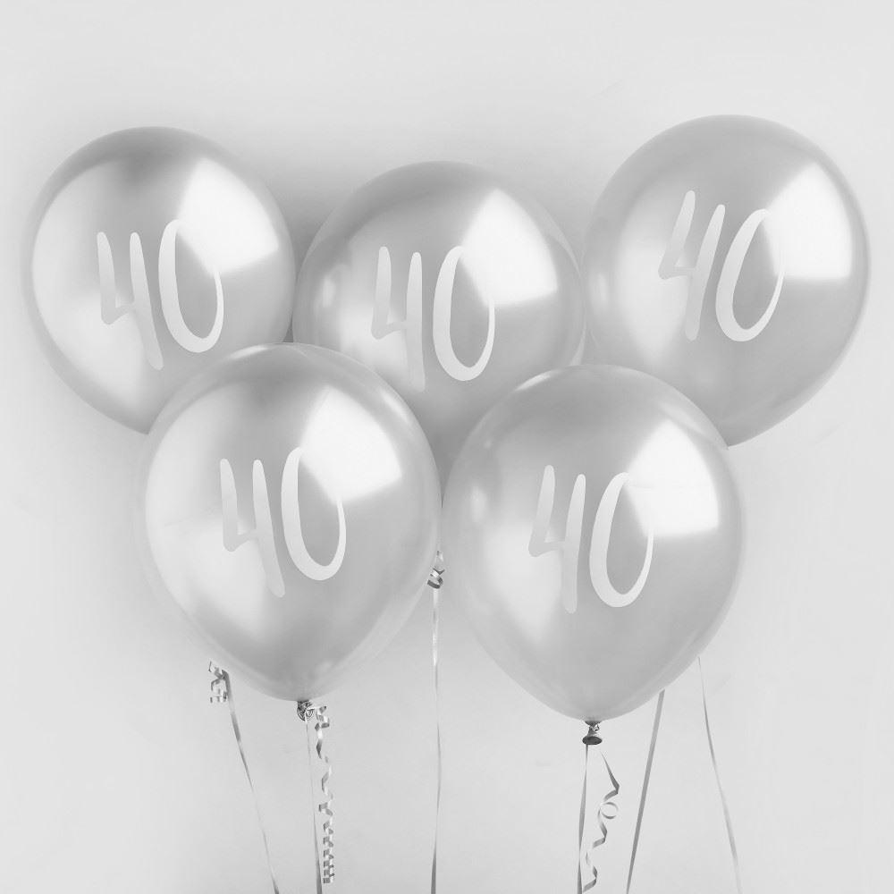 Silver 40 Birthday Party Balloons x 5 - 40th Birthday Decorations