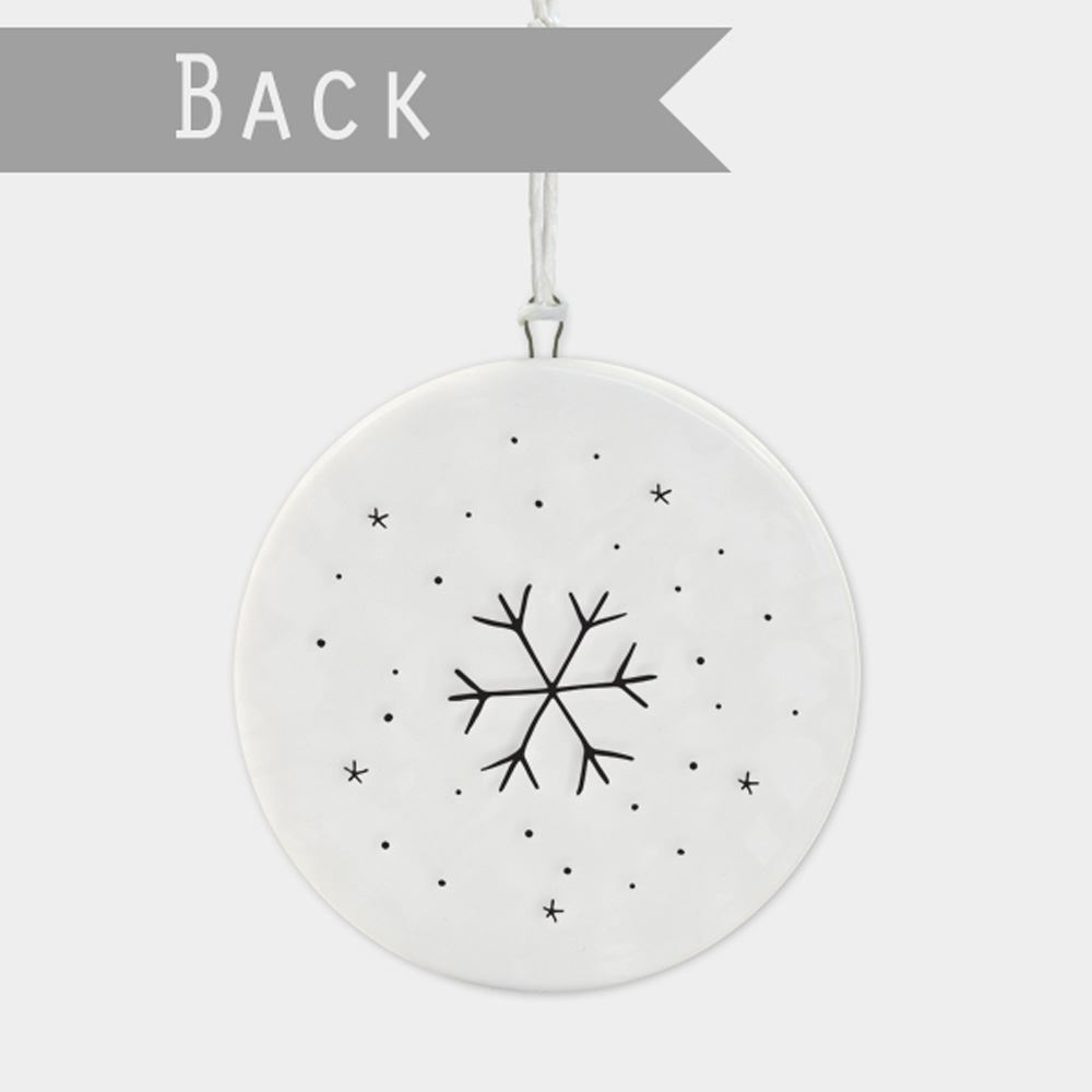 East-of-India-Flat-Christmas-Bauble-hanging-decoration-porcelain-gifts thumbnail 6