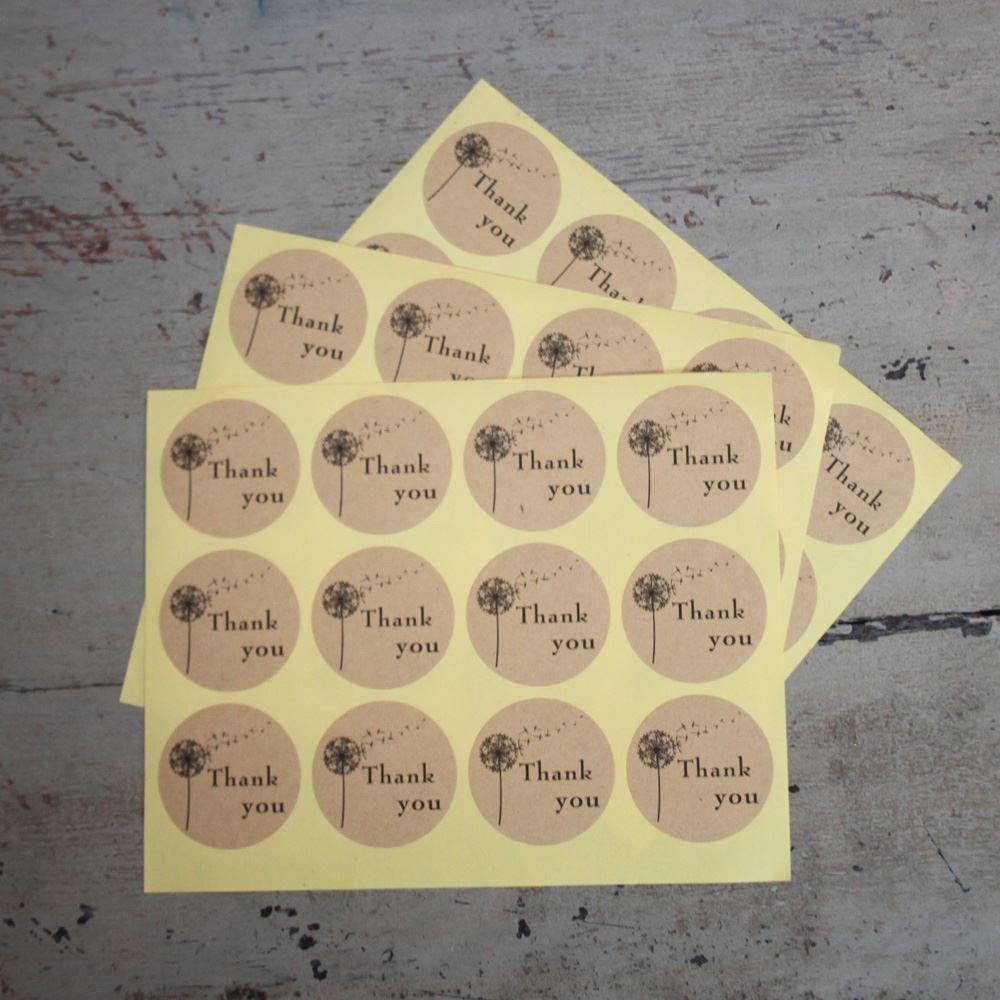 36 Round Thank You Kraft Seal Stickers, Wedding Favour Stickers, Thank You Envelope Seals, Wedding Craft Stickers, Brown Thank You Stickers