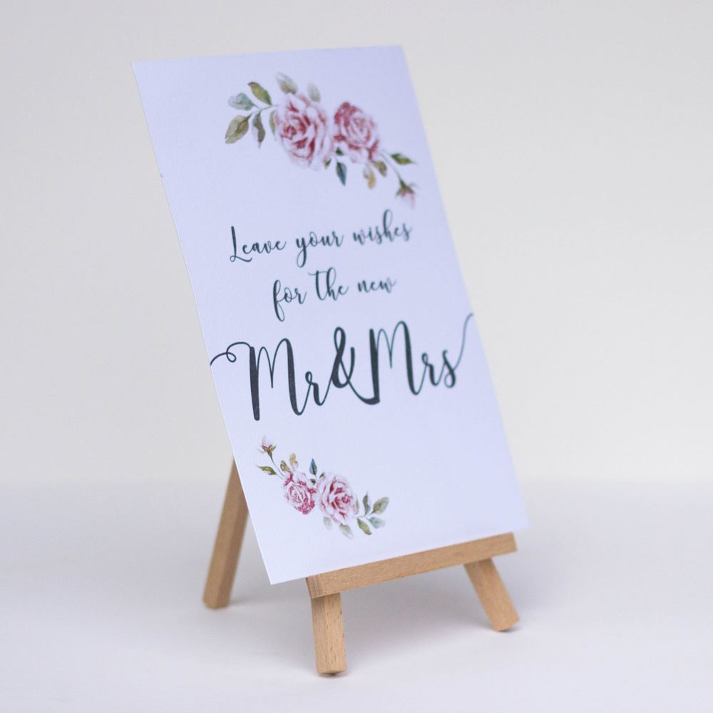 Leave Your Wishes Boho White Card and easel Wedding Guest Book Sign