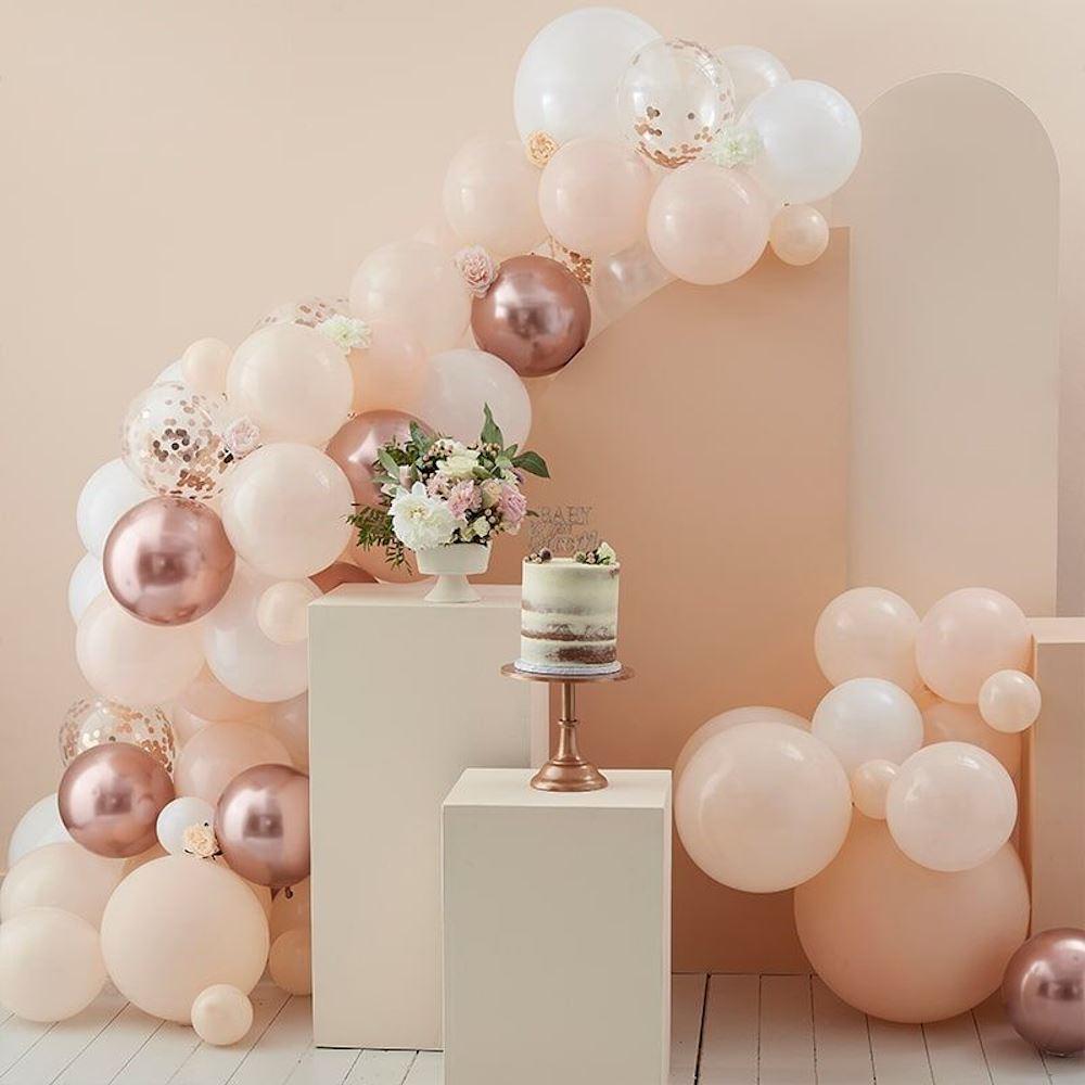 Rose Gold Peach White Balloon Arch Kit 70 Balloons