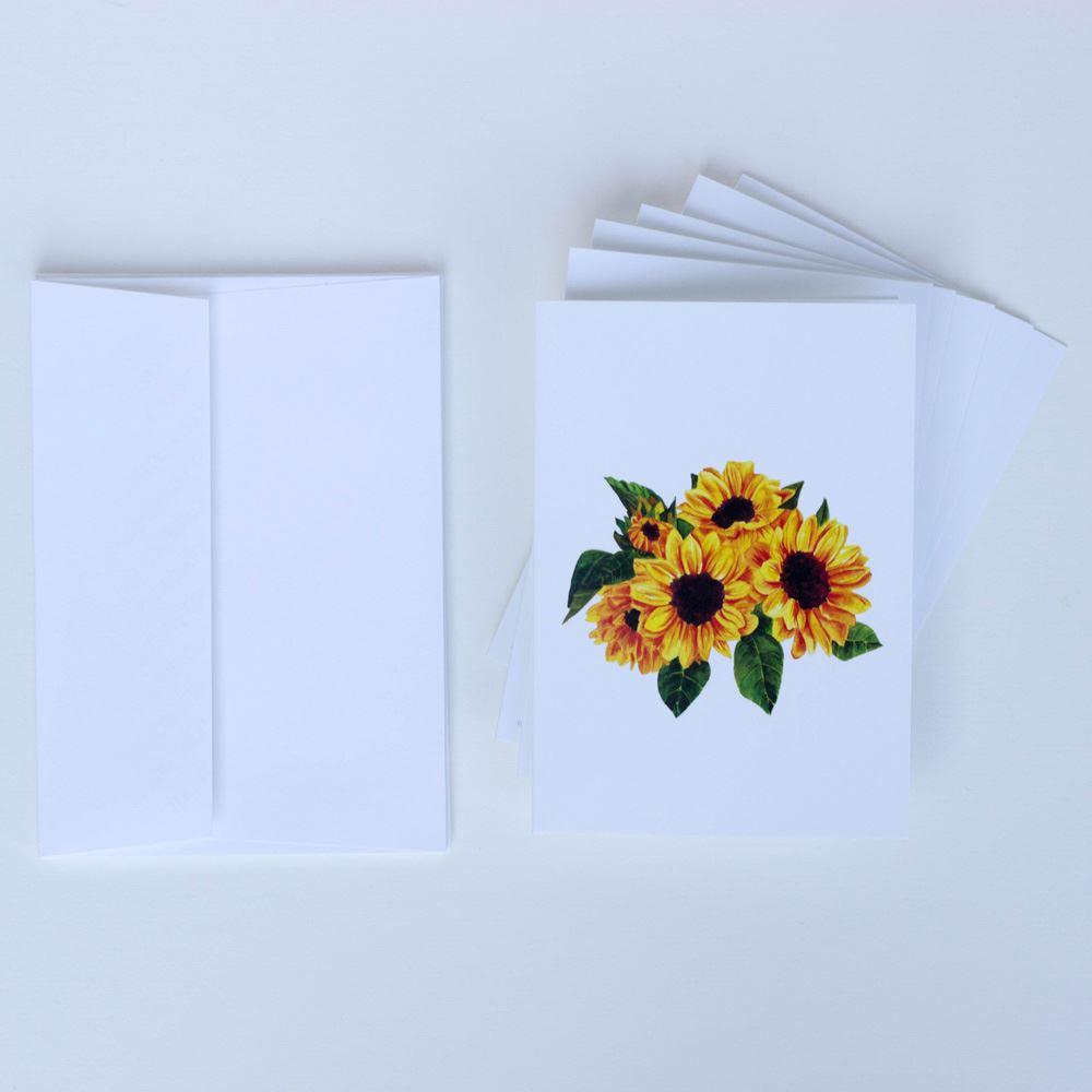 6 Sunflower Lockdown Cards, Charity Cards, Flower Notelets, Floral Birthday Cards, Lockdown Card Stationary