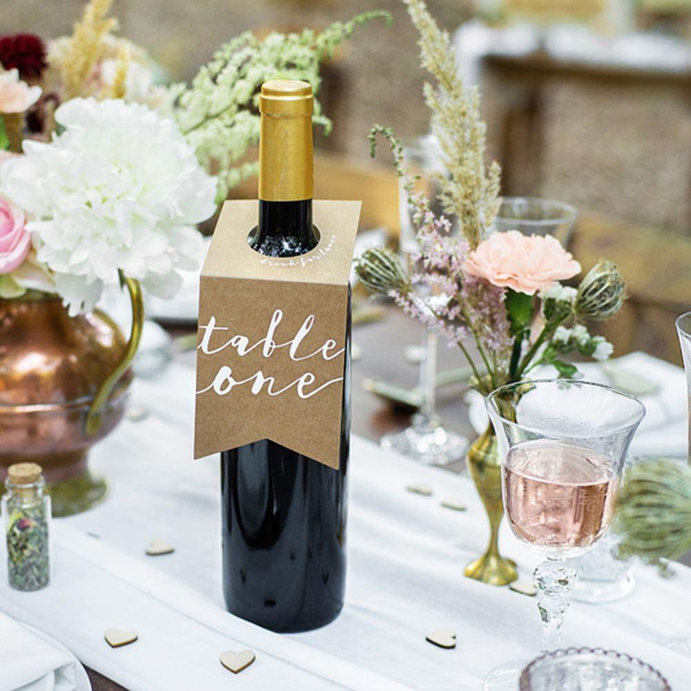 Kraft Brown Wedding Party Table Numbers Bottle Hangers One to Ten