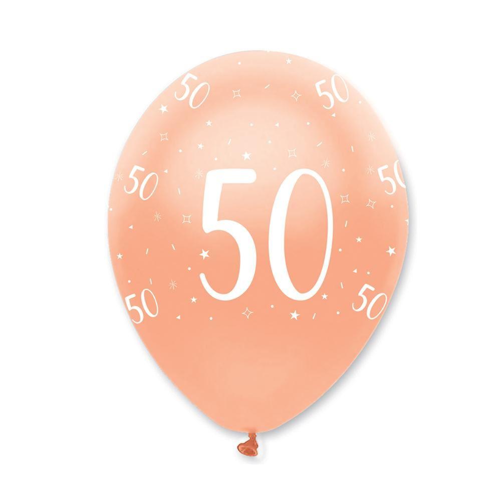 Rose Gold Age 50 Birthday Balloons x 6