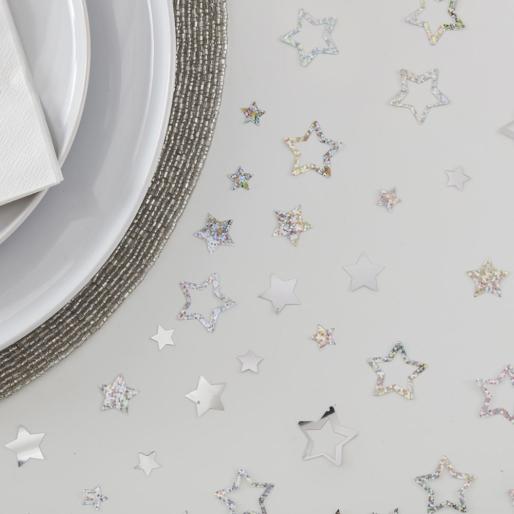 Star Shaped Silver Table Confetti Christmas 13g