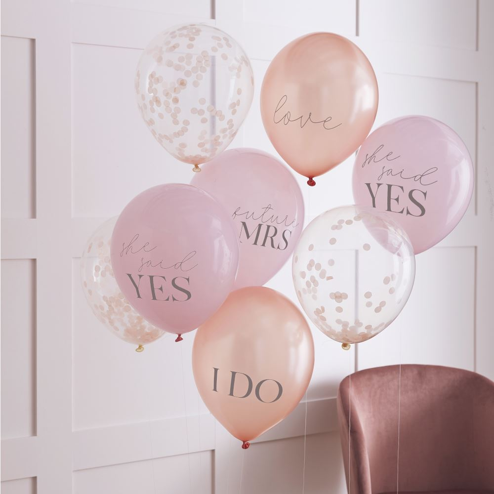 Pink, Rose Gold & Blush Hen Party Confetti Balloons - Bridal Shower x 8