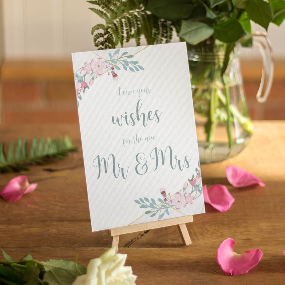 Guest Book Wedding Sign and Easel, Geo Floral Leave Your Wishes Sign