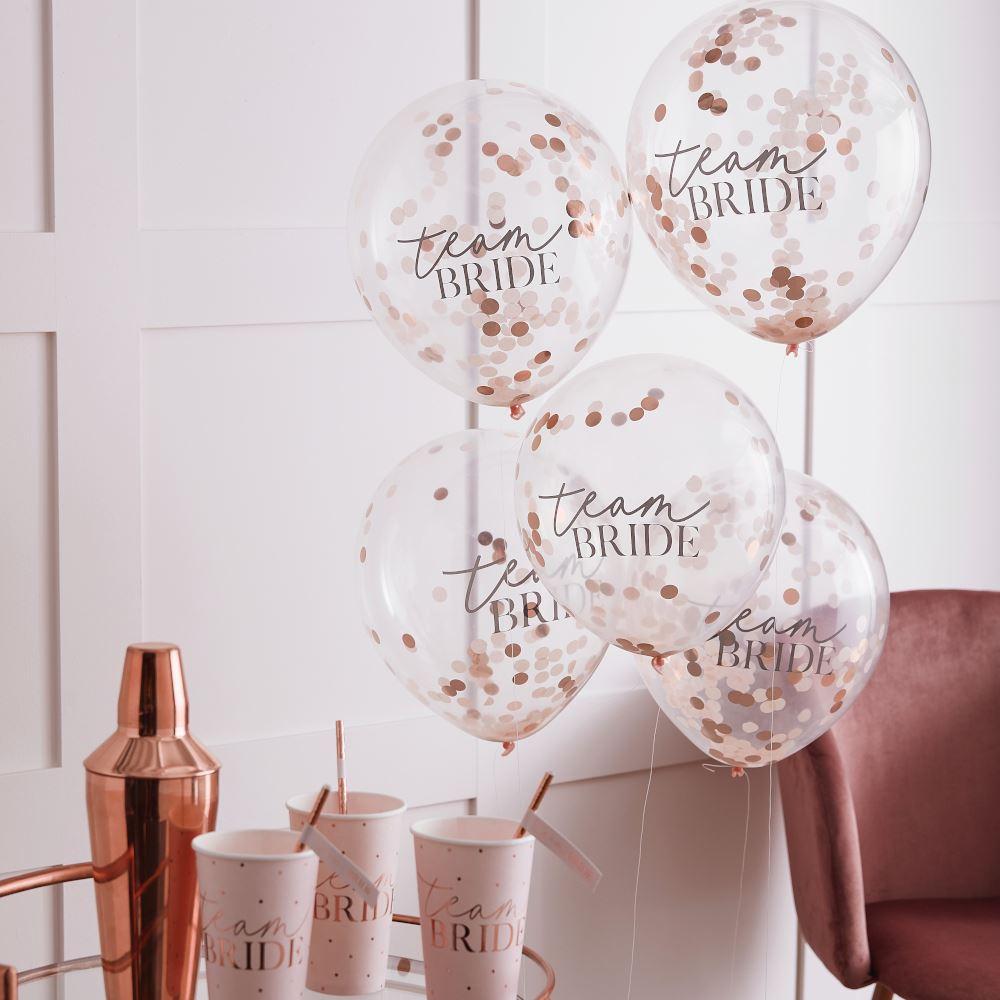 Rose Gold Confetti Team Bride Hen Party Balloons x 5