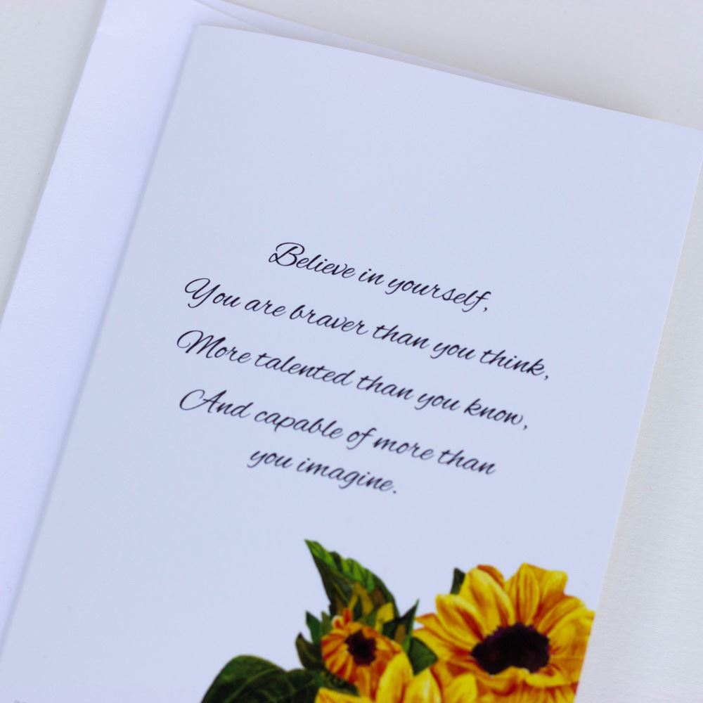 Beautiful Sunflower Card Believe in Yourself Set of 6 Charity Cards