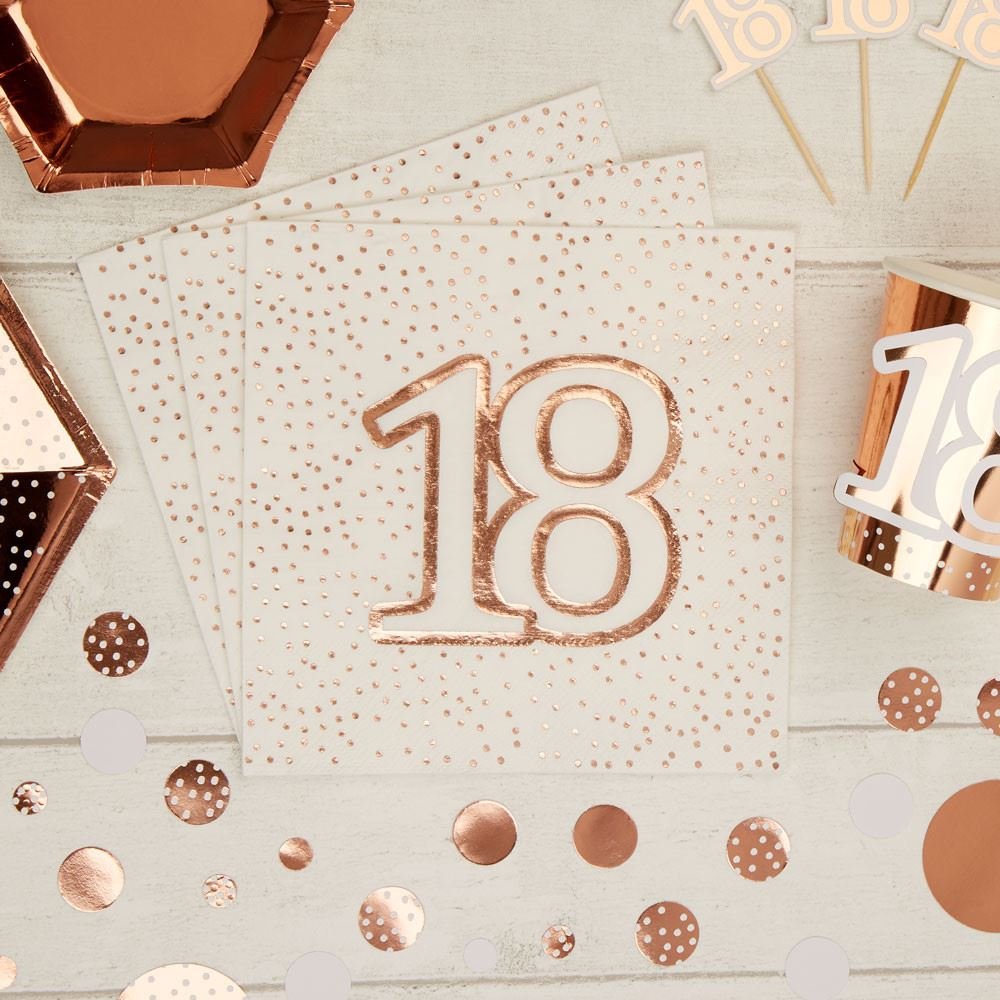 Rose Gold Spotty 18th Birthday Paper Party Napkins x 16 - 3ply