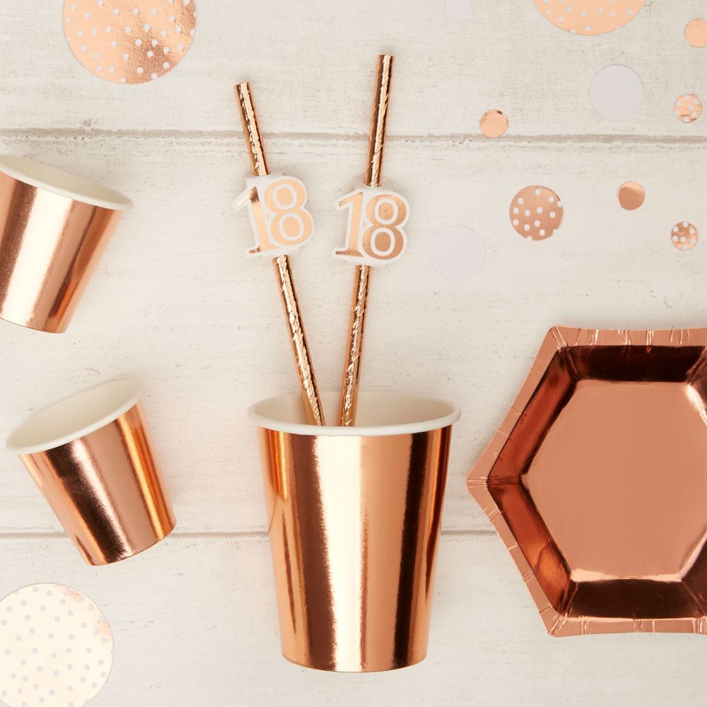 Rose Gold 18th Birthday Party Paper Straws x 10