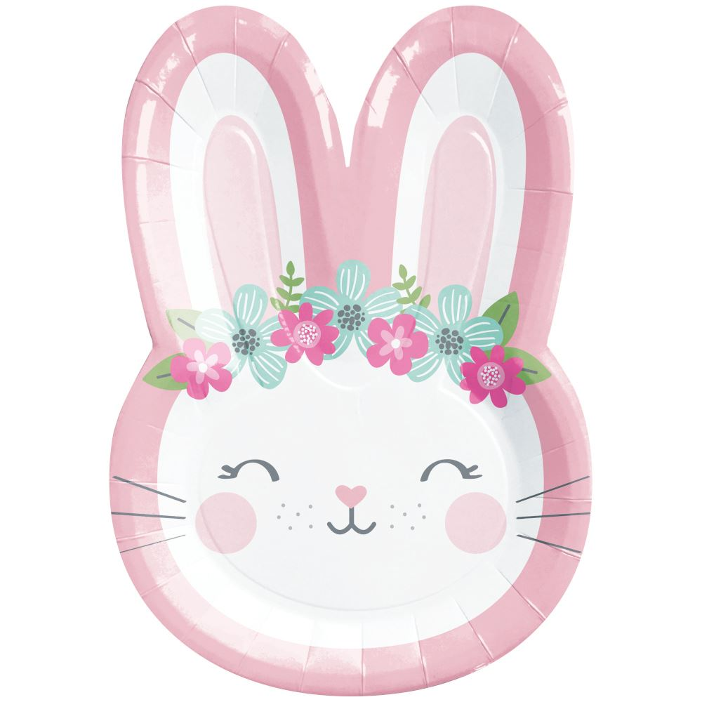 8 Bunny Face Rabbit Paper Party Plates, 1st Birthday Paper Plates, Girls Birthday, Easter Party, Childrens Pink Party Plates, Kids Party