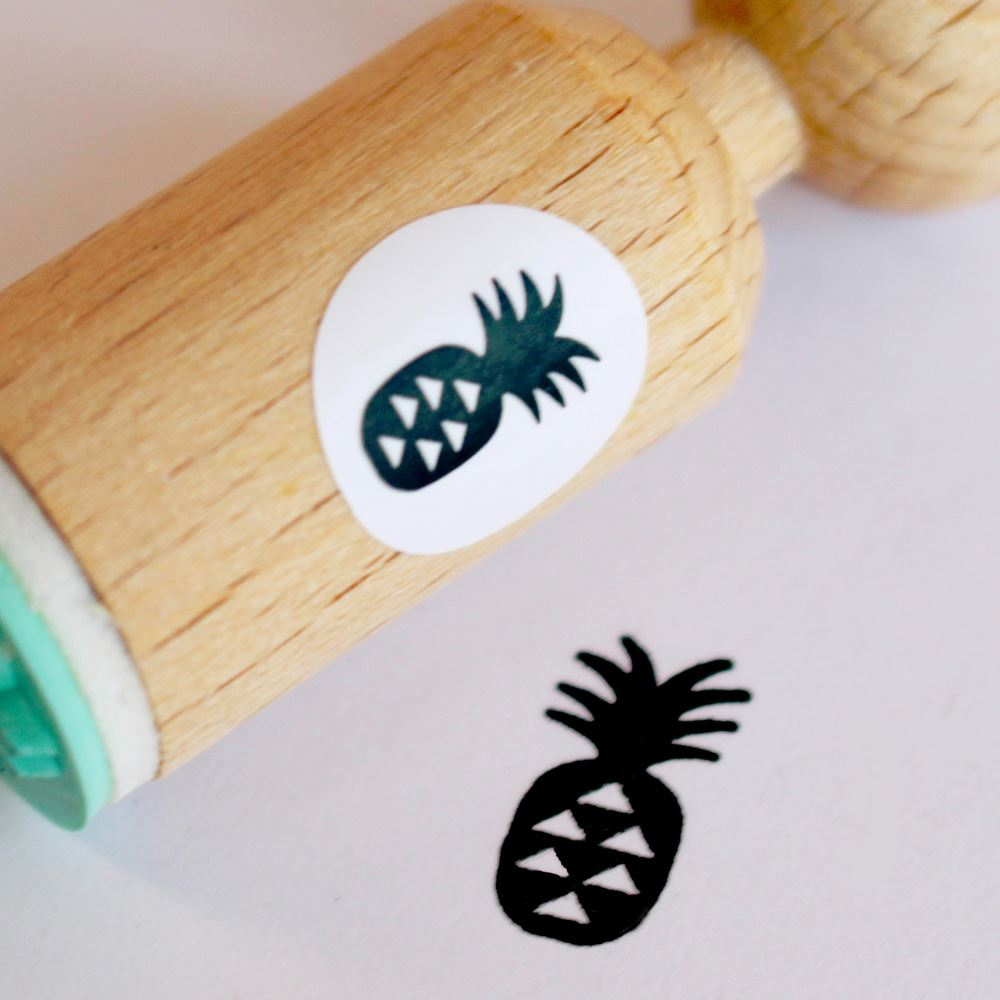 Pineapple Very Mini Wooden Rubber Stamp Craft