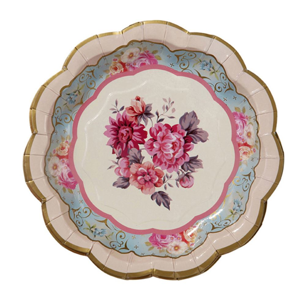 12 Vintage Floral Party Plates, Alice in Wonderland Paper Plates, Afternoon Tea Party Plates, Birthday Tea Party Decorations