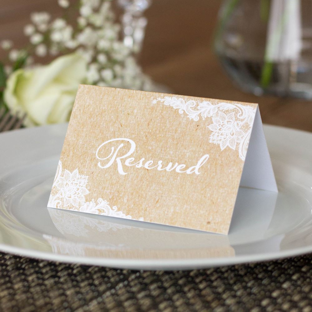 Reserved Wedding Card Set of 4 RESERVED signs Rustic Brown Kraft