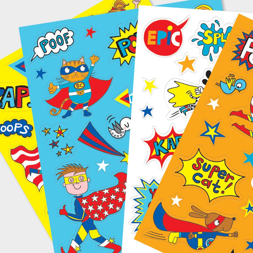 80 Childrens Stickers, Superhero Theme Stickers, Childrens Party Bag Favours, Kids Party Gifts, Christmas Stocking Fillers