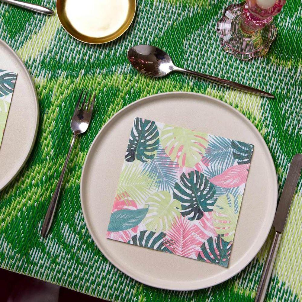 Tropical Palm Pastel Leaf Paper Party Napkins x 20