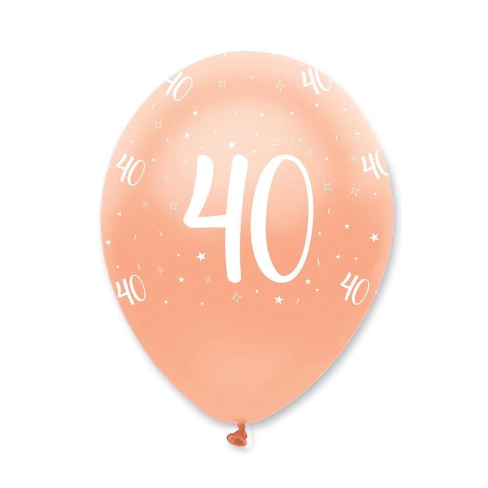 Rose Gold Age 40 Birthday Balloons x 6