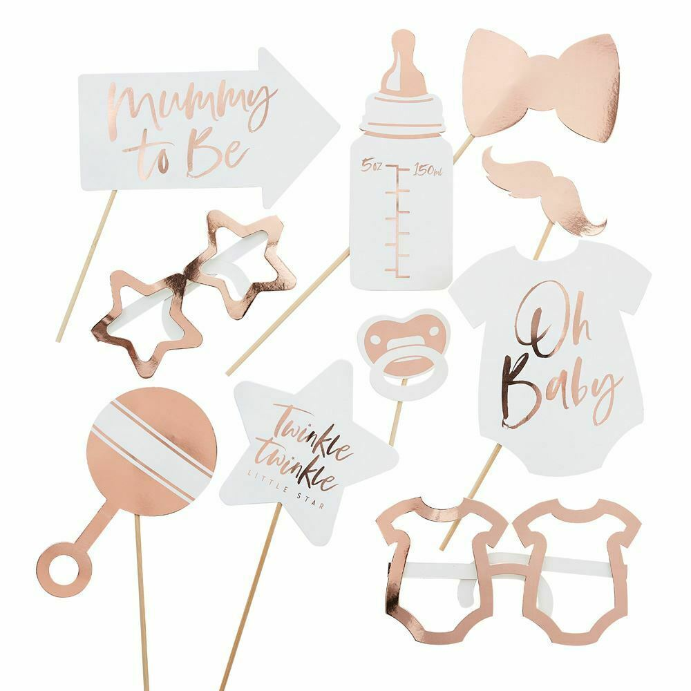 10 Baby Shower Photo Props, Rose Gold Baby Shower Photo Booth, Baby Shower Game, Party Props, New Baby Party, Gender Reveal Party Gifts