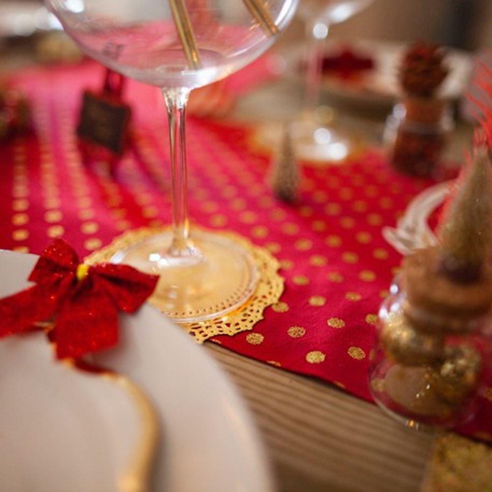 Red Velvet & Gold Glitter Spots Christmas Table Runner 3m