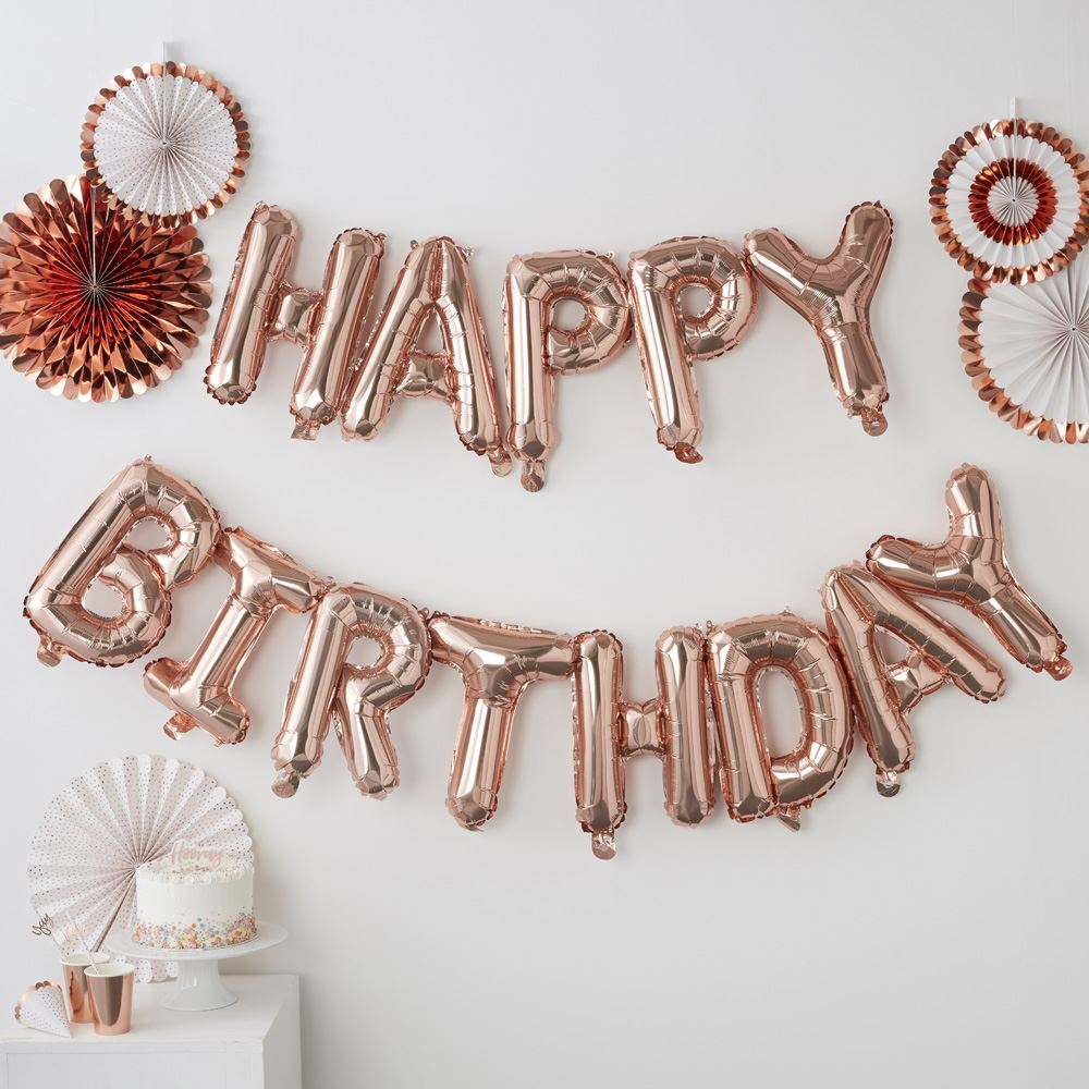 Rose Gold HAPPY BIRTHDAY BALLOON BUNTING 5m No Helium Required