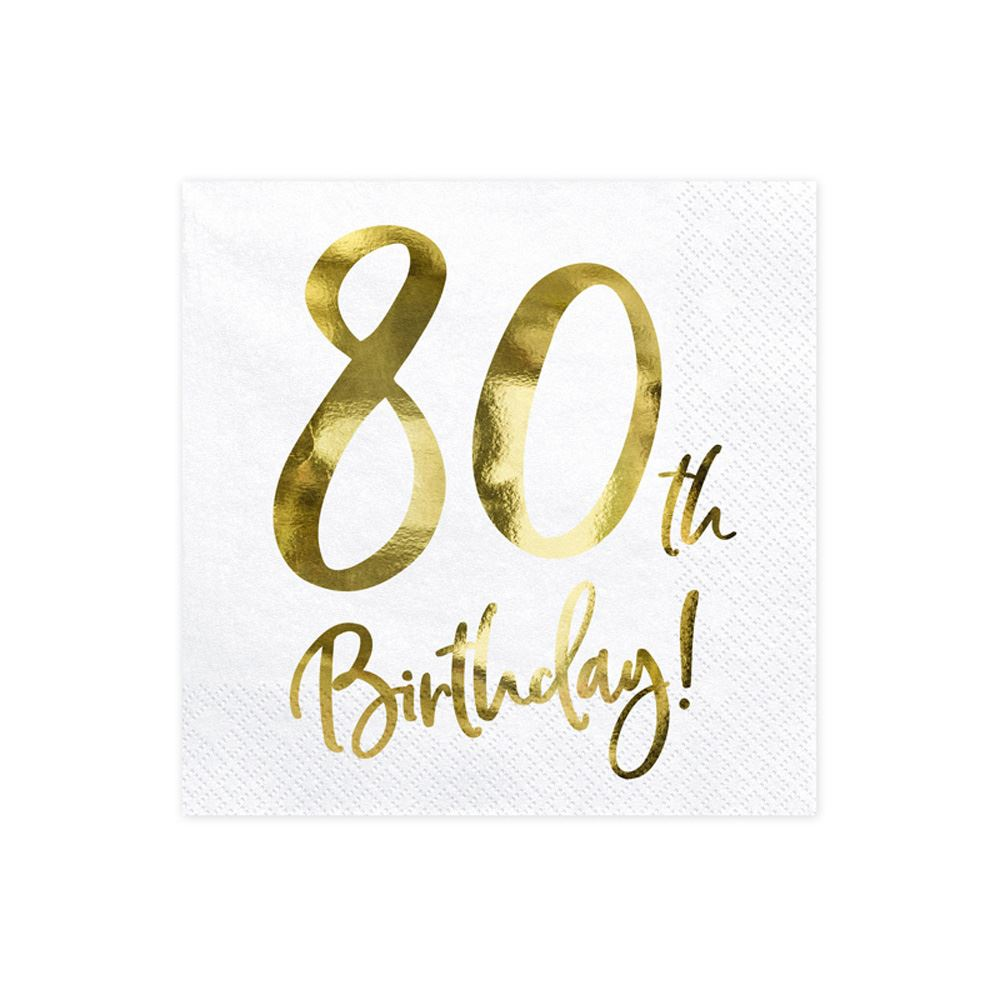 20 Gold 80th Birthday Paper Napkins, 80th Party Napkins, Gold Eightieth Birthday Napkins, Milestone Birthday Napkin, Gold Birthday Tableware