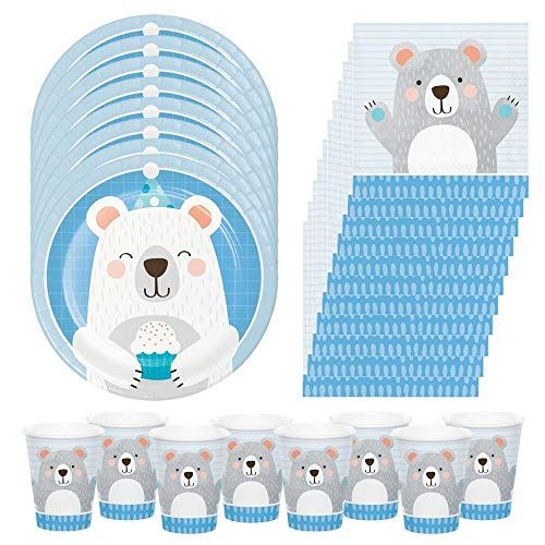 Teddy Bear Birthday Party Pack, 1st Birthday Party Set, Birthday Party Set, Bear Birthday Set, Christening Party Set Plates Cups & Napkins