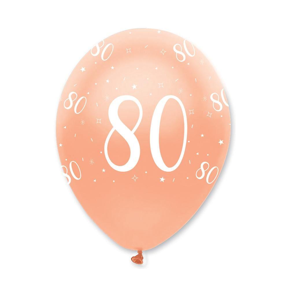 Rose Gold Age 80 Birthday Balloons x 6